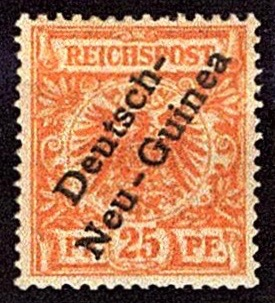 German New Guinea 1897 25pf definitive stamp with overprint