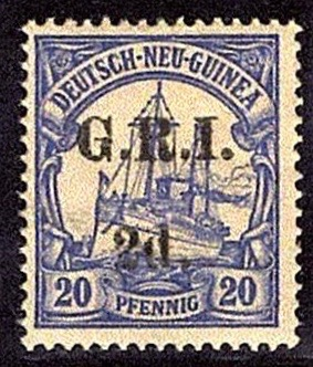 New Guinea 1914 stamp of German New Guinea 20pf overprinted G.R.I. 2d