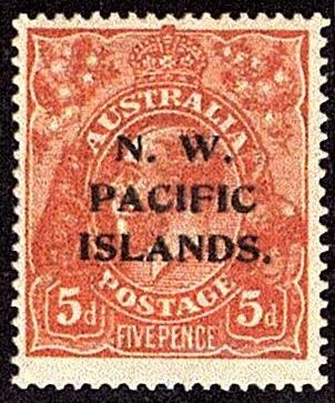 New Guinea 1915 5d stamp of Australia overprinted N. W. Pacific Islands