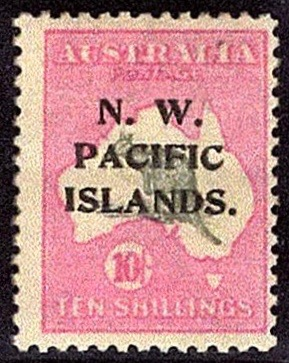 New Guinea 1918 10s stamp of Australia overprinted N. W. Pacific Islands