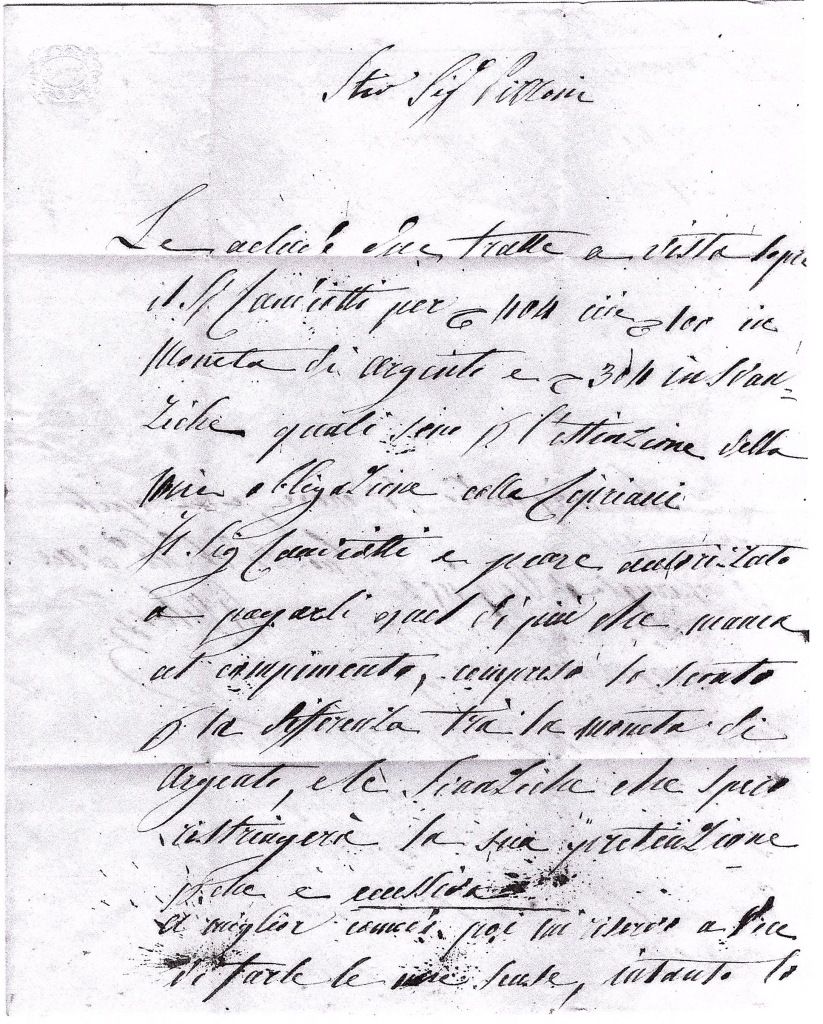 Papal States 1852 / 1862 content of letter sent from Perugia to Vatican City