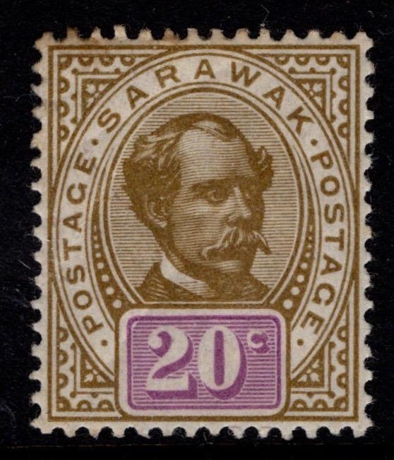 Sarawak 1888 20c stamp featuring Sir Charles Brooke