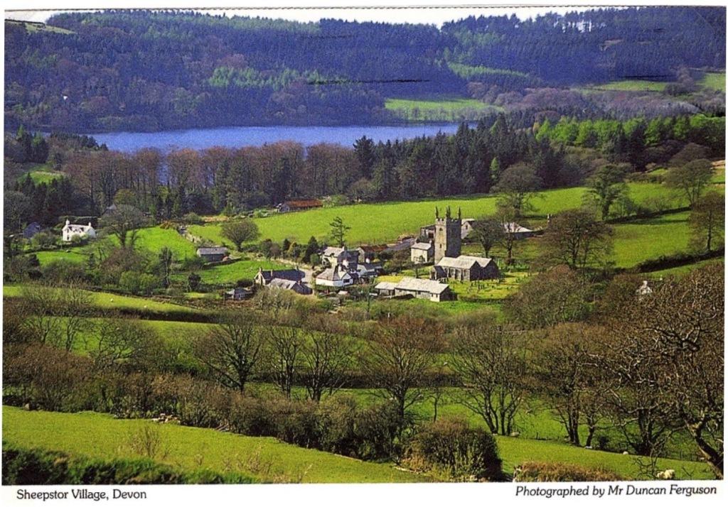Postcard of Sheepstor village in Devon, England