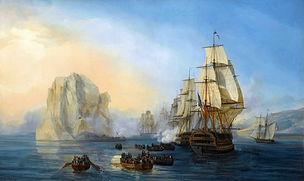 Painting by Auguste Mayer depicting the French fleet commanded by Captain Cosmao-Kerjulien attacking Diamond Rock, Martinique
