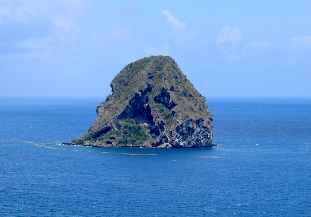 Photograph of Diamond Rock taken from Morne Larcher on the Martinique mainland