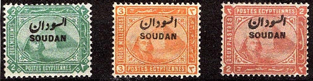 1897 Stamps of Egypt overprinted Soudan 2m, 3m and 2p