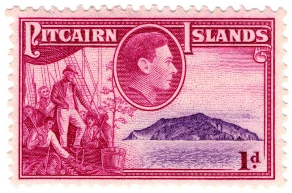 1940-51 Pitcairn Island 1d George VI stamp featuring Fletcher Christian and Pitcairn Island