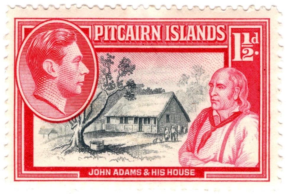 1940-51 Pitcairn Island 1½d George VI stamp featuring John Adams