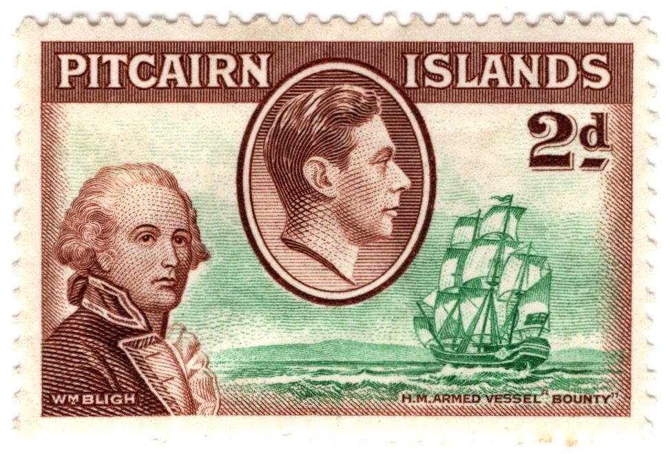 1940-51 Pitcairn Island 2d George VI stamp featuring Lieutenant William Bligh and HMS Bounty