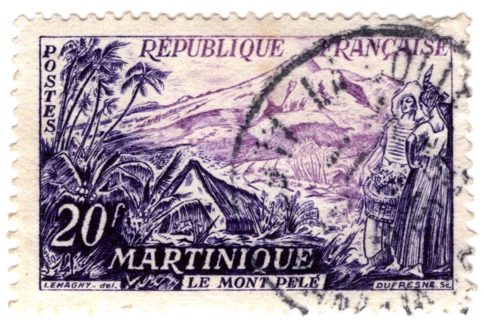 1955 20f stamp issue of France featuring Mont Pelé, Martinique