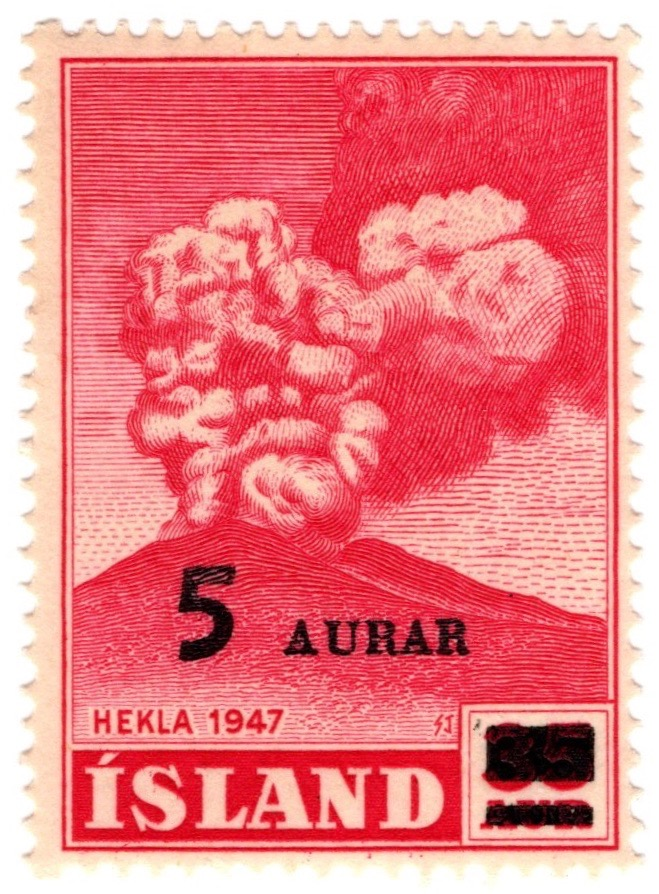 1948 5a Optd. stamp issue of Iceland commemorating eruption of Hekla in 1947