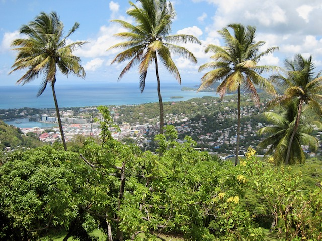 Photograph of view over Castries, capital and largest city of St Lucia
