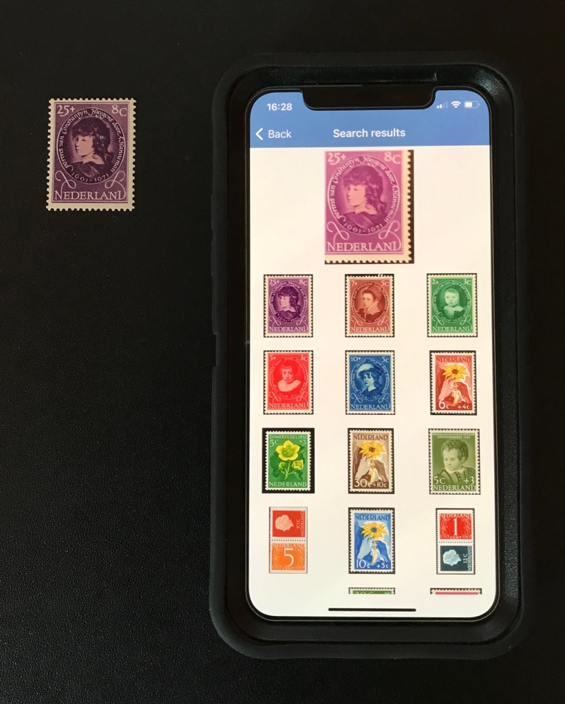 Photograph of Stamp Identifier scanned image with menu of potential matches