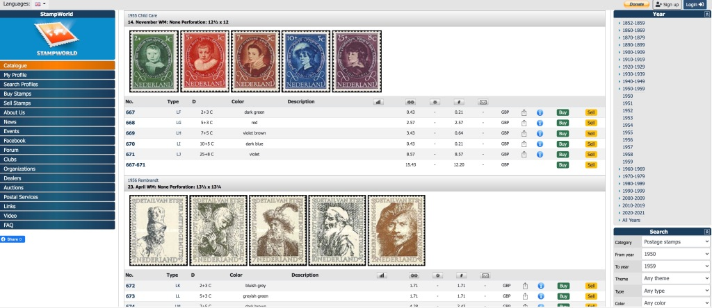 Screenshot of StampWorld catalogue price listing for the specified issue