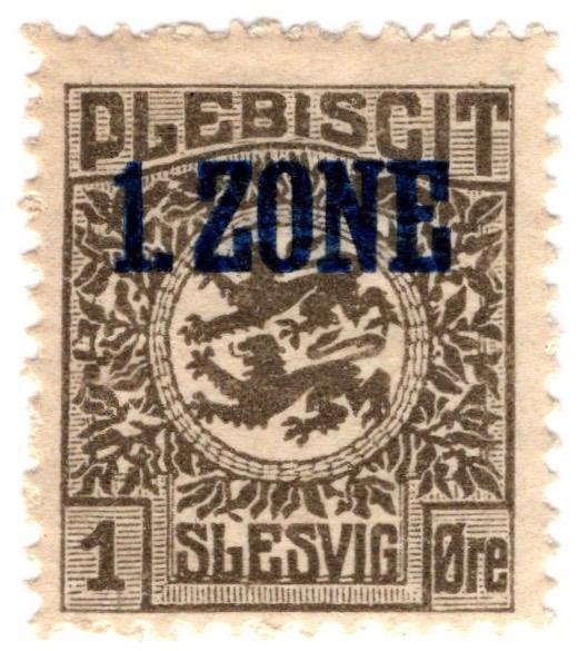 Northern Slesvig plebiscite 1920 1ø stamp Optd. '1. ZONE'