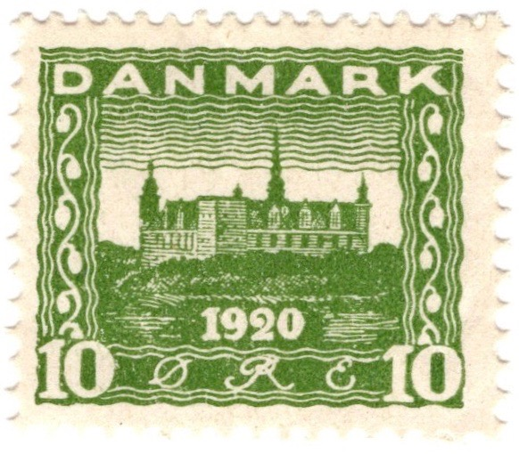 Denmark 1920 Recovery of Northern Slesvig 10ø Green stamp featuring Kronborg Castle