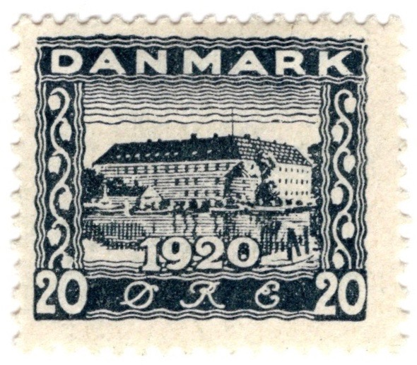 Denmark 1920 Recovery of Northern Slesvig 20ø Slate stamp featuring Sønderborg Castle