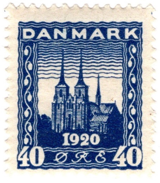 Denmark 1920 Recovery of Northern Slesvig 40ø Indigo stamp featuring Roskilde Cathedral