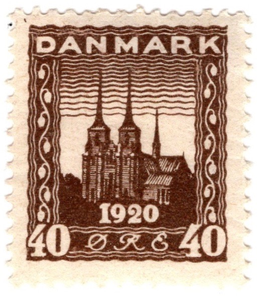 Denmark 1920 Recovery of Northern Slesvig 40ø Slate stamp featuring Roskilde Cathedral