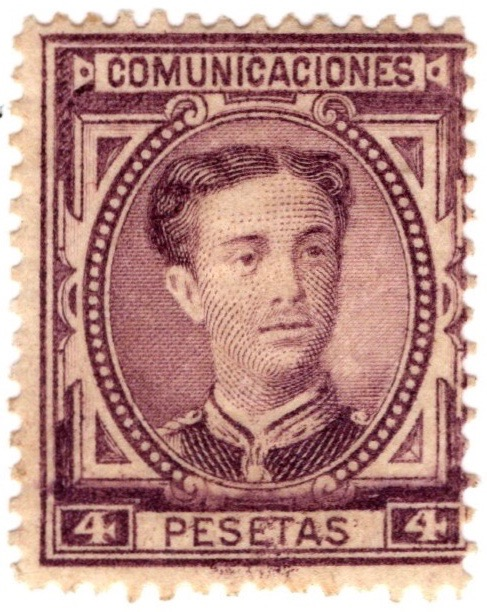 Spain 1876 4p stamp featuring King Alfonso XII