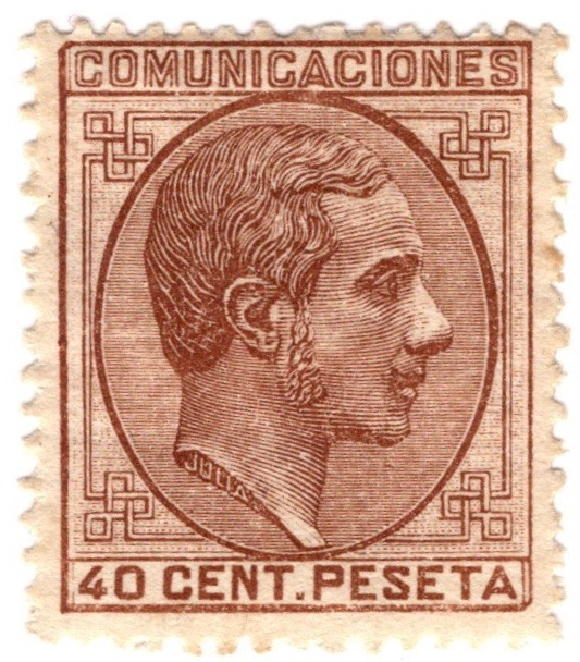 Spain 1878 40c stamp featuring King Alfonso XII