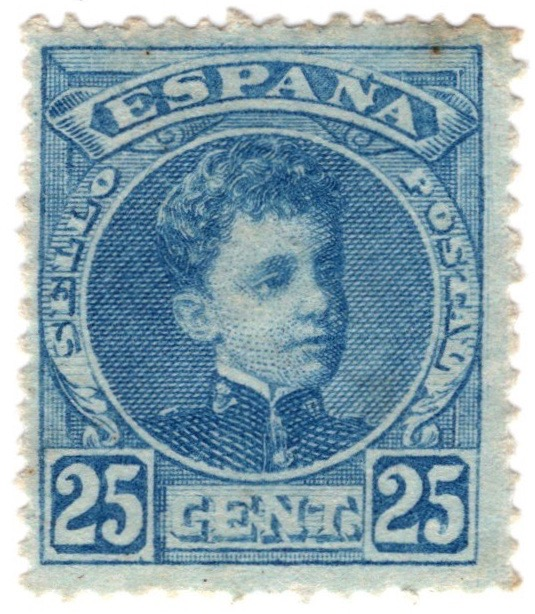 Spain 1901 25c stamp featuring King Alfonso XIII