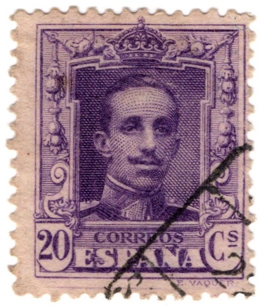 Spain 1922 20c stamp featuring King Alfonso XIII