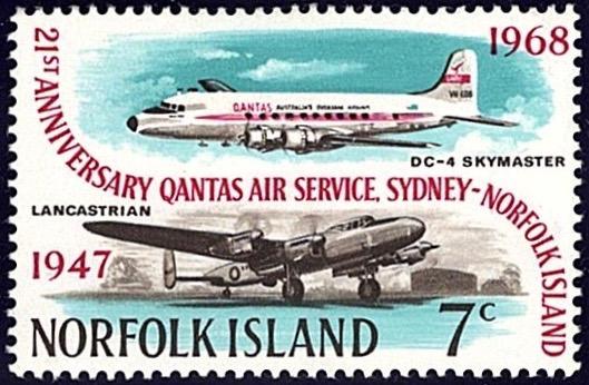 Norfolk Island 1958, 21st Anniversary of Sydney flight service 7c stamp
