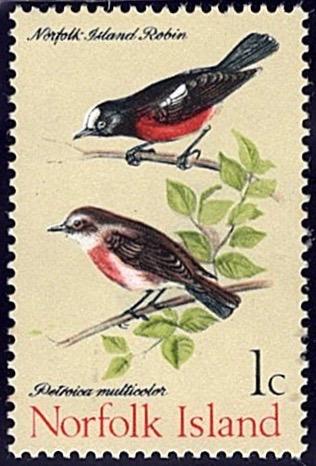 Norfolk Island 1970-71, Birds 1c stamp