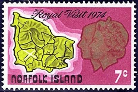 Norfolk Island 1974 Royal Visit 7c stamp
