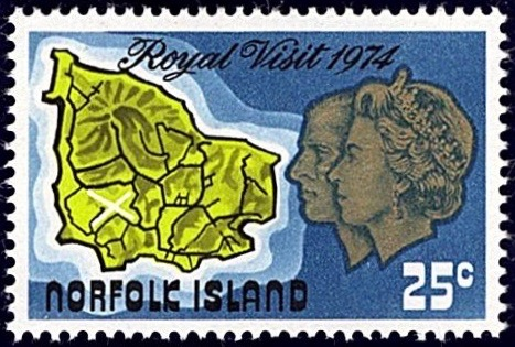 Norfolk Island 1974 Royal Visit 25c stamp