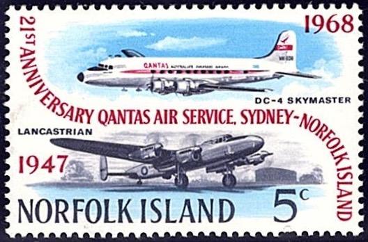 Norfolk Island 1958, 21st Anniversary of Sydney flight service 5c stamp