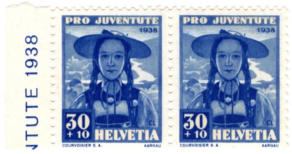 Switzerland 1938 Pro Juventute 30c +10c stamp featuring child and scene of Aargau