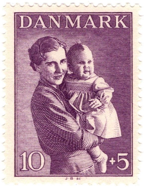 Denmark 1941 Child Welfare 10o +5o stamp featuring Princess Margaret