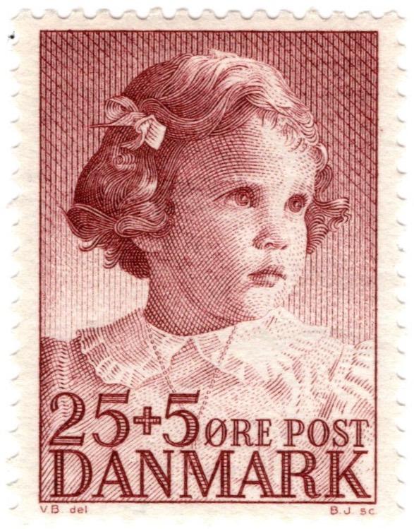 Denmark 1950 Child Welfare 25o +5o stamp featuring Princess Anne-Marie